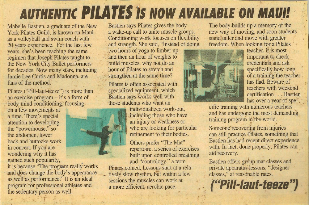 Authentic Pilates on Maui Article